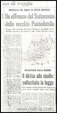 da Gazz del sud 24 MARZO 1975 SU AFFRESCO PENTEDATTILO