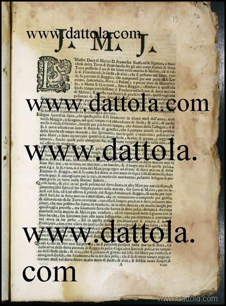 foto foglio iniziale atto Duca di Melito Ruffo contro Arcivescovo