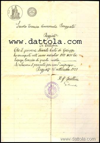 1920 LICENZA TECNICA SCUOLA COMUNALE PAREGGIATA copy