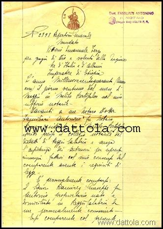 1 NOMINA PROCURATORE MINNITI SANTO DA RAMIREZ GIUSEPPE 1940 copy