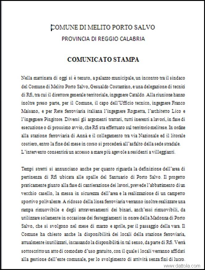 1 comunicato stampa