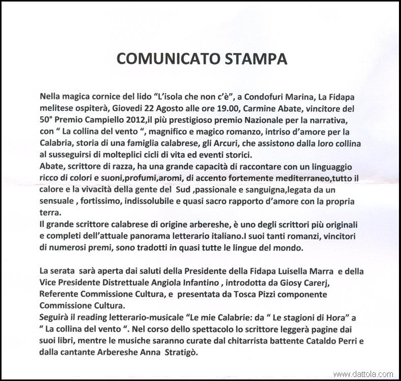 COMUNICATO STAMPA  CARMINE ABATE