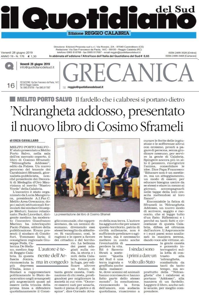Il Quotidiano del Sud 28 giugno 2019 Libro Sframeli Cosimo